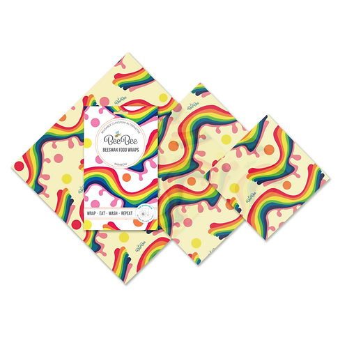 BeeBee Wraps Beeswax Wraps Mixed Pack of 3 Rainbow design