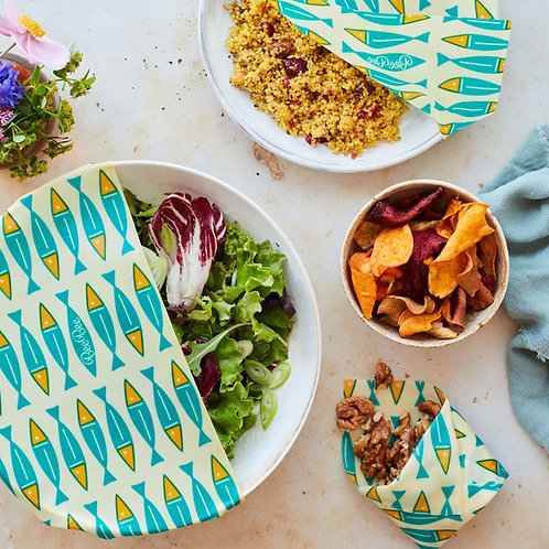 Organic Cotton BeeBee Beeswax Wraps Mixed Pack set of 3 Sardines
