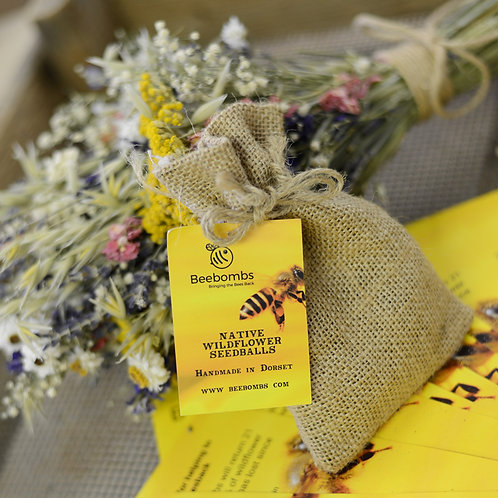 BeeBombs Wildflowers for Bees  with hessian bag