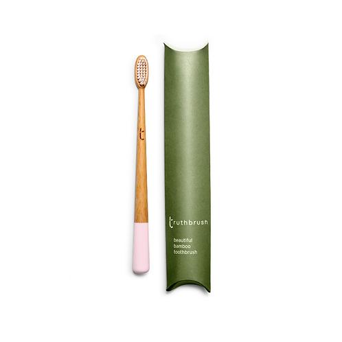 Truthbrush petal pink bamboo toothbrush plant based bristles