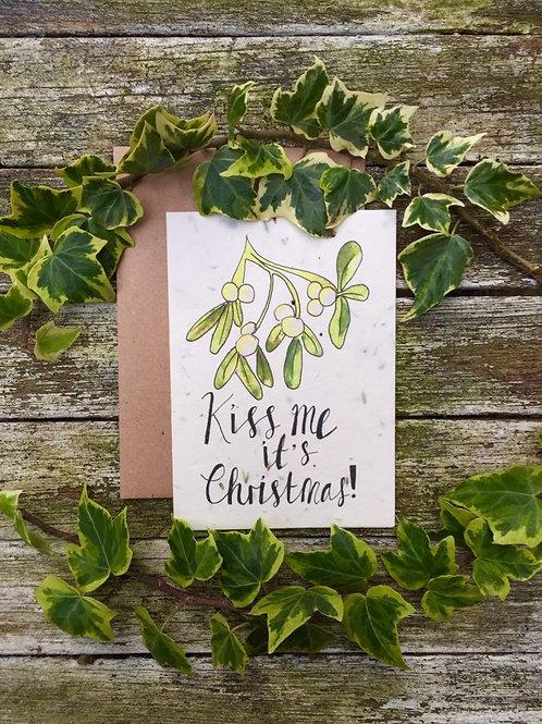 Loop Loop Kiss me Christmas plantable wildflower card with brown envelope