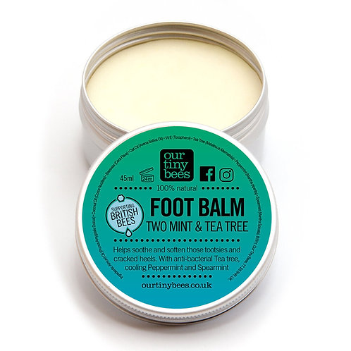 Our Tiny Bees - Two Mint & Tea Tree Foot Balm Front view