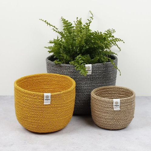 Jute Tall Beach Basket Set of 3 with plant in