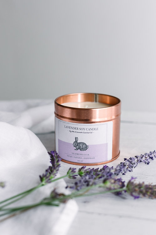 lavender soy wax candle vegan bunny
