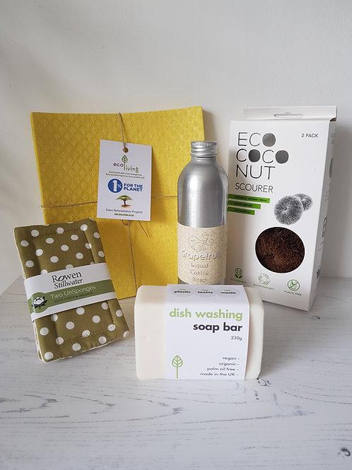 kitchen starter kit eco green revolution castile soap compostable sponges coconut scourer sponges dish washing soap bar