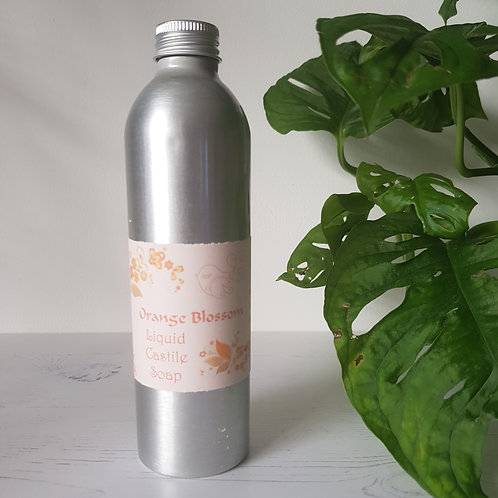 Little Blue Hen orange blossom liquid castile soap in aluminium bottle
