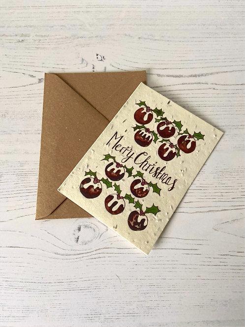 Loop Loop Christmas Pudding plantable wildflower card with brown paper envelope