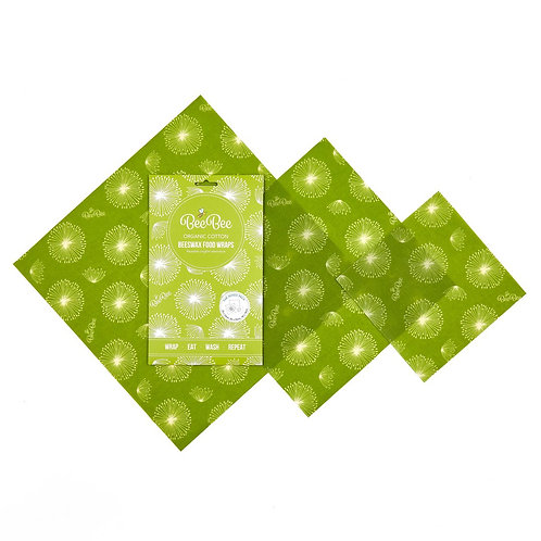 Organic cotton BeeBee Wax Wraps Mixed Pk 3 Dandelion