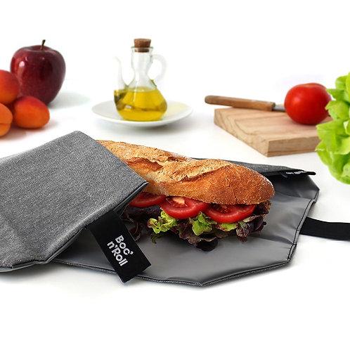 boc n roll reusable grey sandwich wrap open