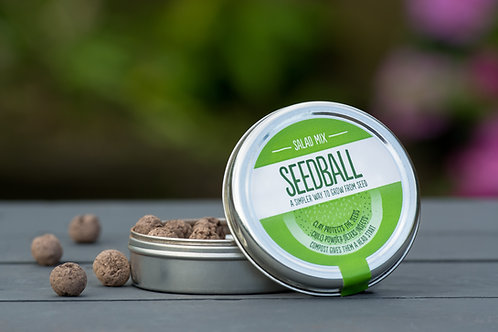 Salad Mix Tin - Seedball  with seedballs at side of tin