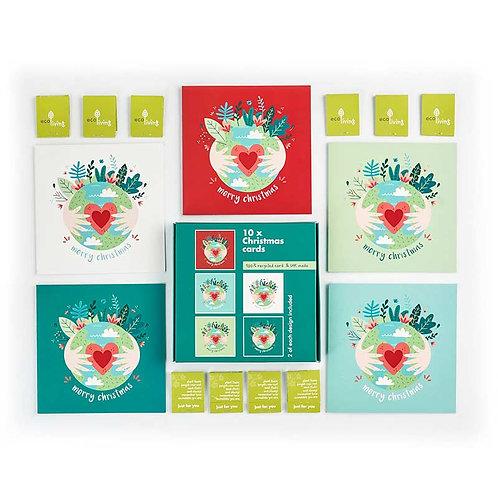 Recycled Christmas Cards 10 PK Eco Earth - Eco Living