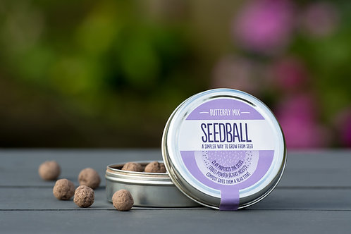 Seedball Butterfly Mix open tin with seedballs