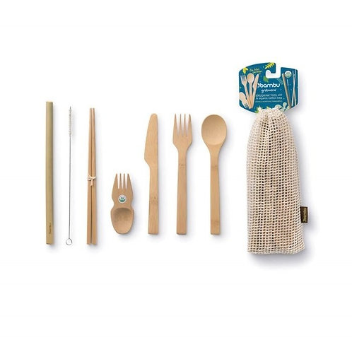 Bambu Eat Drink Take out Kit  with straw, knife fork spoon spork straw cleaner chopsticks pouch