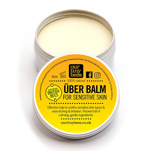 Our Tiny Bees Sensitive Uber Balm in aluminium tin front view