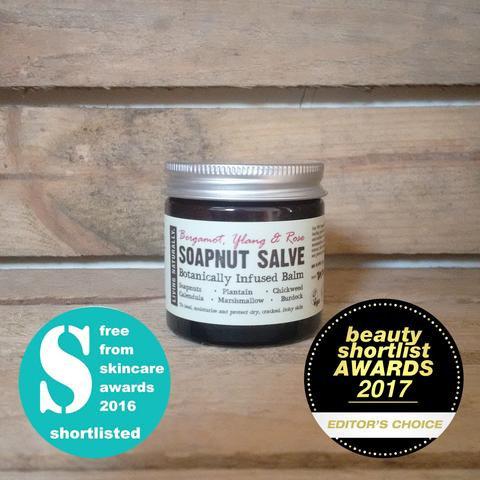 Living Naturally soapnut healing salve Bergamot Ylang rose glass jar