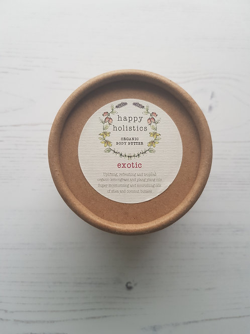 Happy Holistics Exotic organic body butter compostable tub
