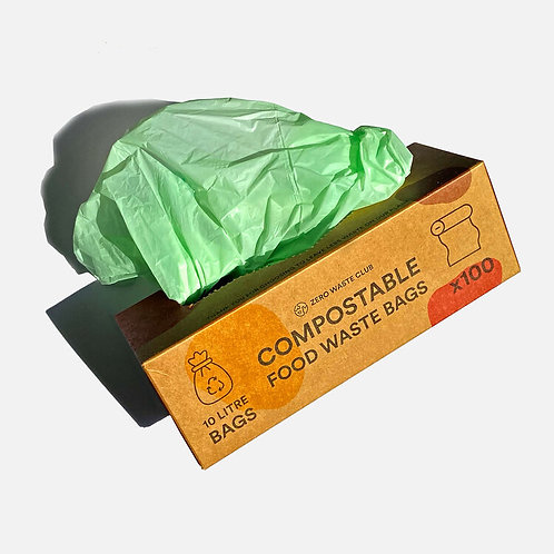 Compostable Food Bin Bags Pk of 100 - 10 Litres - Zero Waste Club