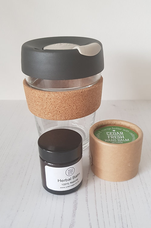 WINTER GIFT SET OUT AND ABPUT KEEPCUP SCENCE CEDAR FRESH HAND BALM HERBAL BAALM WILD SAGE AND CO