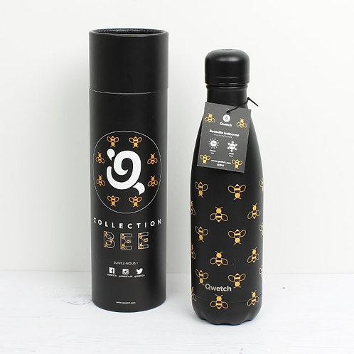 Qwetch Insulated stainless Steel All Black Bee Bottle 500ML with tube packaging