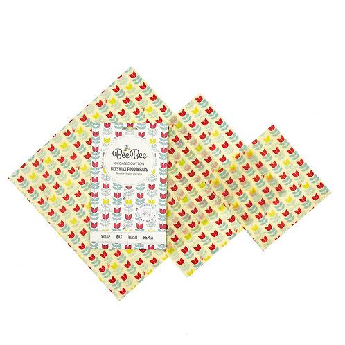 Organic Cotton BeeBee Wax Wraps Mixed pk 3 Tulip