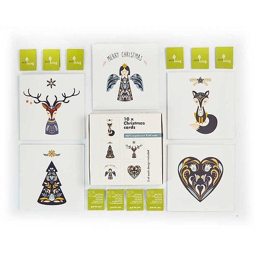 Recycled Christmas Cards 10 PK Scandinavian Folk - Eco Living