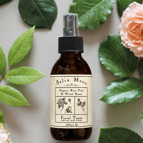 Salix Moon Apothecary Rose Water Witch Hazel Facial Toner in glass bottle