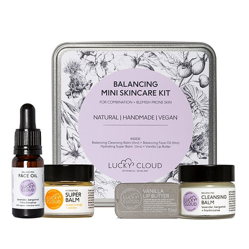 Lucky Cloud Mini Balancing Skincare Kit, face oil, super balm, cleansing balm, lip butter