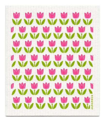 Pink Small Tulip Compostable Dishcloth - Jangneus