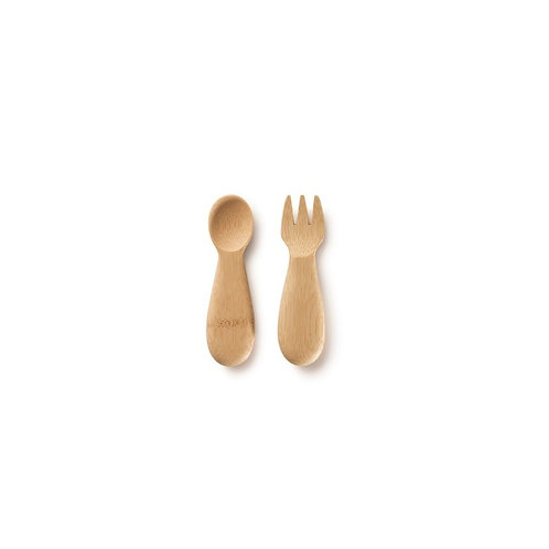 Bambu organic bamboo baby and toddler fork and spoon set 12 month plus