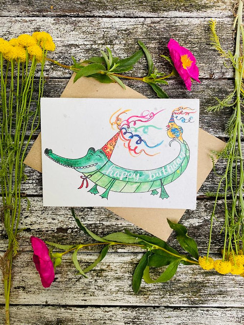 Happy Birthday Alligator Plantable Wildflower Card - Loop Loop