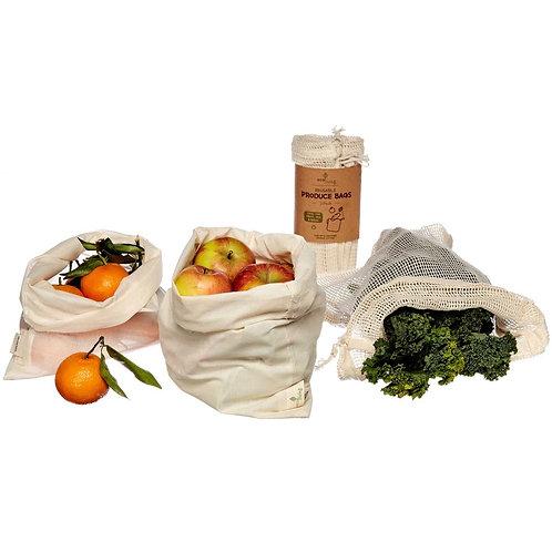 Organic Cotton Produce Bags & Bread Bag - 3pk Eco Living