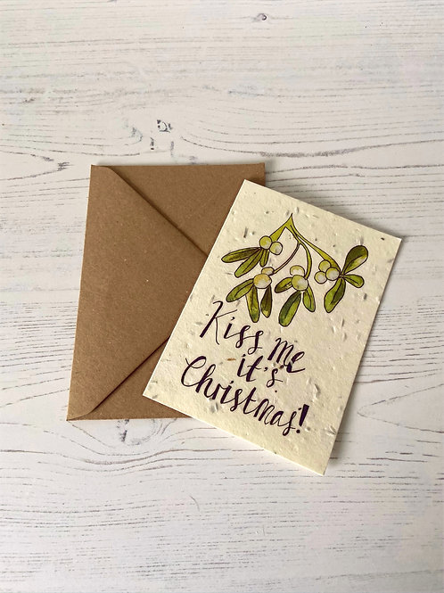 Loop Loop Kiss me Christmas plantable wildflower card with brown envelope