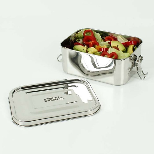 A Slice of Green Doda Leak Resistant Lunchbox open with food