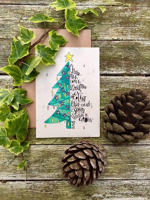 Loop Loop Christmas Tree plantable wildflower card with brown paper envelope