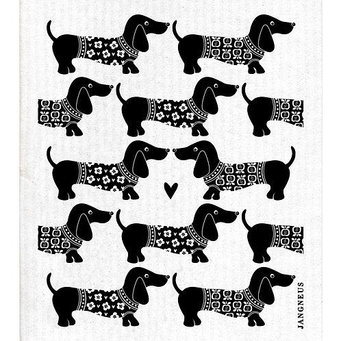 Black Dax Dachshund Sausage Dog Compostable Dishcloth - Jangneus