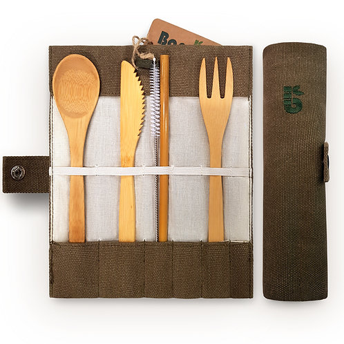 Bambaw Cutlery Set Unrolled in case Bamboo Knife Fork Spoon Straw