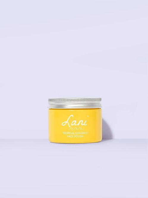 Lani Tropical Coconut Face Polish in yellow glass jar