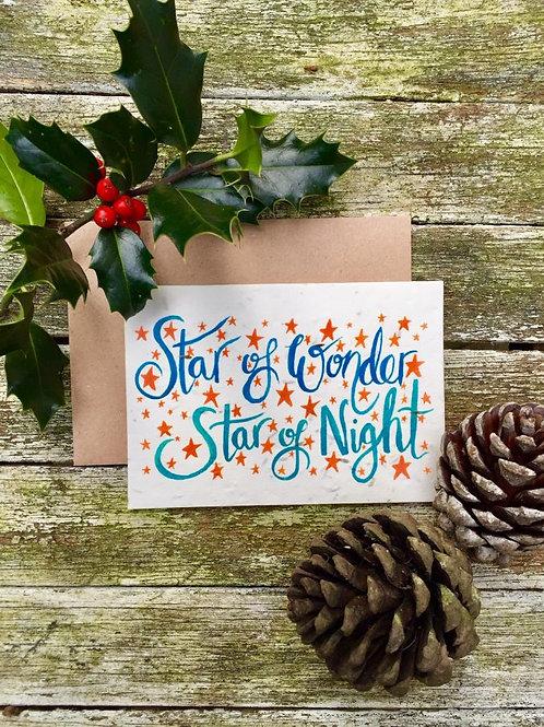Loop Loop star of wonder Christmas card with brown paper envelope