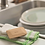 Bambu Organic Bamboo Pot & Pan Scraper in Kitchen with dish cloths
