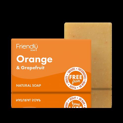 Friendly Soap Orange and Grapefruit Vegan Soap Bath Bar Natural Handmade Soap