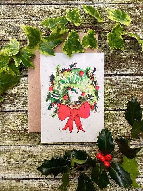 Christmas Wreath - Plantable Wildflower Card - Loop Loop