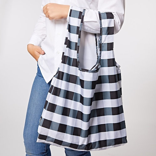 Gingham Black & White Reusable Shopping bag - Kind Bag over arms