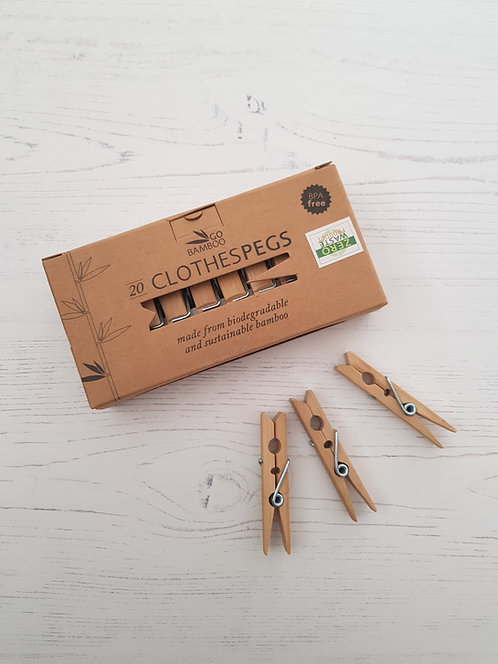 Eco living pk 20 bamboo clothes pegs