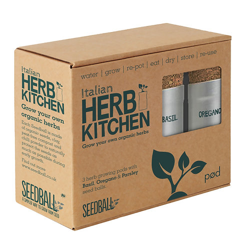Seedball Plastic Free Italian Herb Kitchen with 3 pots of herbs in box