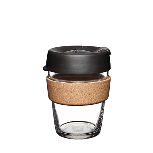 Keepcup Black 12oz reusable cork edition