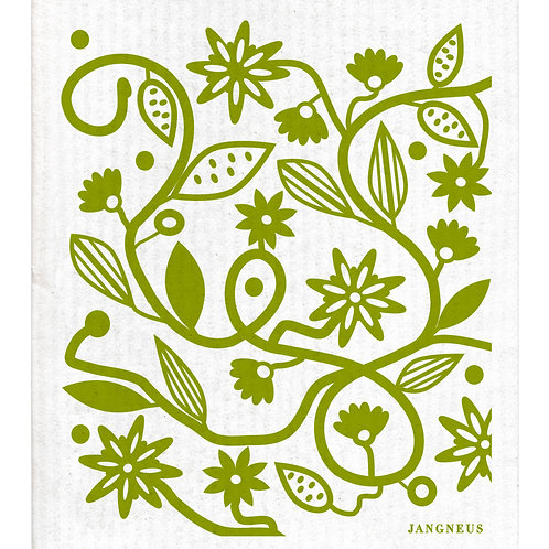 Green Doodle Flower Compostable Dishcloth - Jangneus