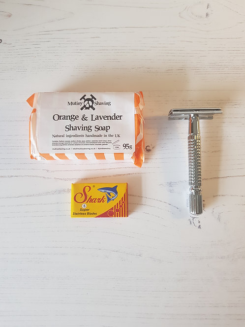 Mutiny chrome safety razor kit, orange lavender soap, replacement blades