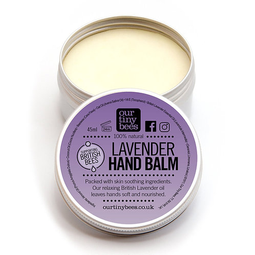 Our Tiny Bees Lavender Hand Balm soothes and softens front view