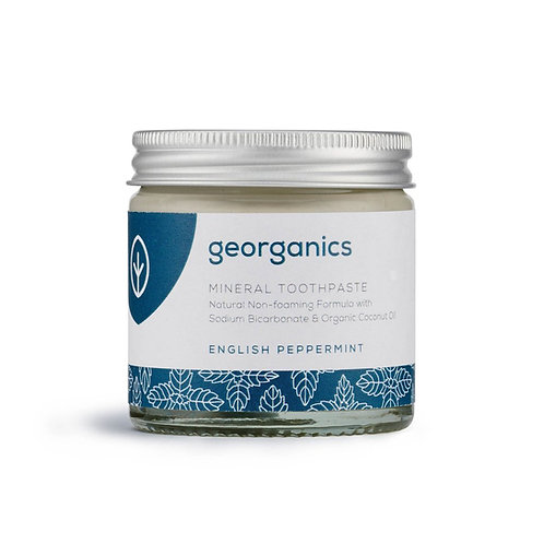 English Peppermint Natural Toothpaste 60 ml Georganics in glass jar