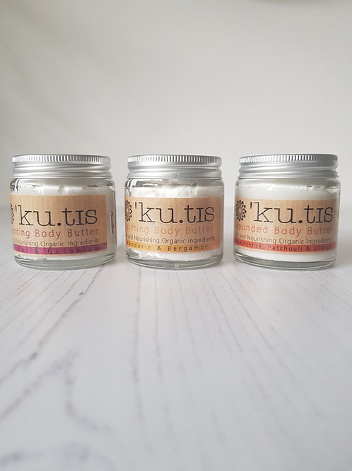 Kutis organic body butter in glass jar set of 3